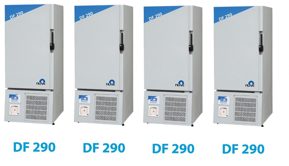 Tủ âm -86oC Model DF290 Hãng sản xuất: Nuve Xuất xứ: Turkey Thông số kỹ thuật: - Thể tích: 260 lít, 455 lít và 560 lít - Cài đặt nhiệt độ: -45oC đến -90 oC - Nhiệt độ buồng tủ -86oC khi sử dụng thiết bị o nhiệt độ phòng 20oC - Nhiệt độ đồng nhất: ±3°C (so với mẫu). Độ ổn định nhiệt: ±0.5 °C (so với mẫu). - Cài đặt khoảng nhiệt độ báo alarm từ +5°C đến +25°C - Hệ thống điều khiển bằng N-SmartTM, màn hình hiển thị LCD, 4.3inch, hiển thị kỹ thuật số hoặc giản đồ nhiệt. - Hệ thống làm lạnh bằng DirectFREEZE™ với các cuộn làm mát bên trong. - Ngôn ngữ: Turkish, English, French, Spainish, Russian - Có 3 buồng chứa mẫu riêng biệt. - Bộ nhớ trong khả năng lưu trữ 10 data dữ liệu. - Chức năng báo lỗi bằng âm thanh và màn hình nhấp nháy. - Báo tin hiệu alram : với pin sạc tự động trong 12 giờ. - Cách điện bằng polyurethane - Cổng kết nối RS232 cho PC, hoặc USB - Có password cho người vận hành. Cửa có khóa. - Có chức năng điều khiển từ máy tính, gửi yin nhắn SMS, gửi email (chọn thêm phần mềm) - Vật liệu bên trong bằng théo không gỉ, bên ngoài được phủ lớp Epoxy Polyester. Vui lòng liên hệ để biết thêm thông tin sản phẩm: Trương Quang Tuyên Phone: 0902838476 Email: info@linhnam.com.vn